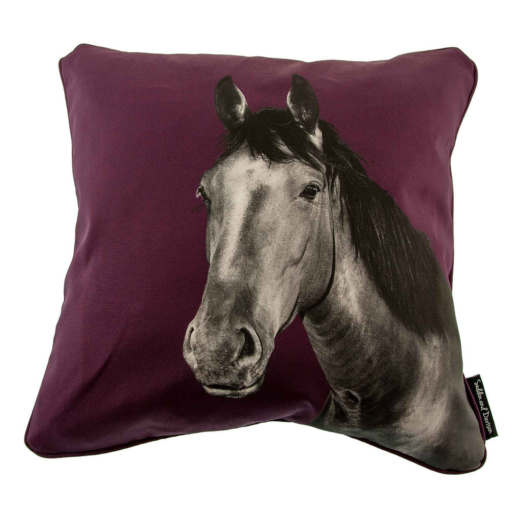 Horse Cushion - Mulberry