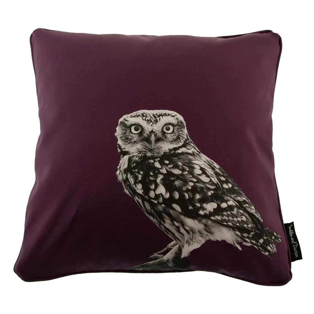 Little Owl Standing Cushion - Mulberry