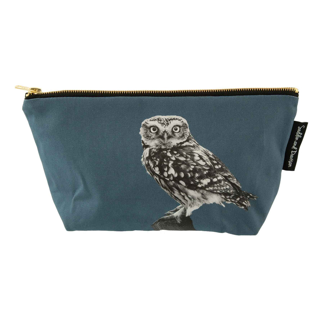 Little Owl Standing Wash Bag - Steel Blue