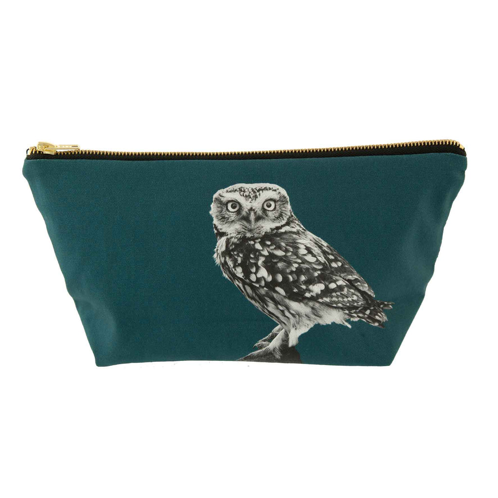 Little owl standing wash bag  teal green