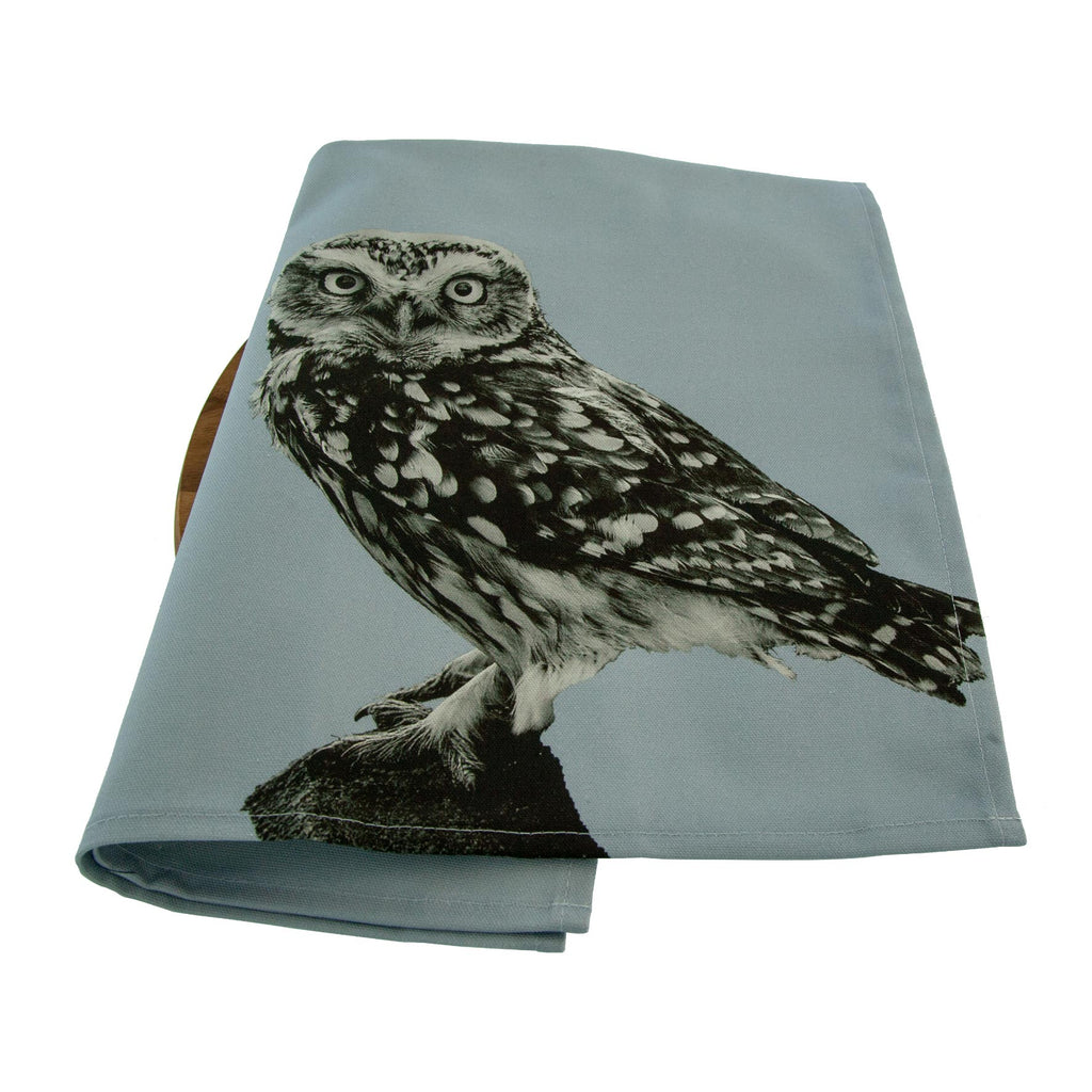 Little Owl Standing Tea Towel - Pale Grey