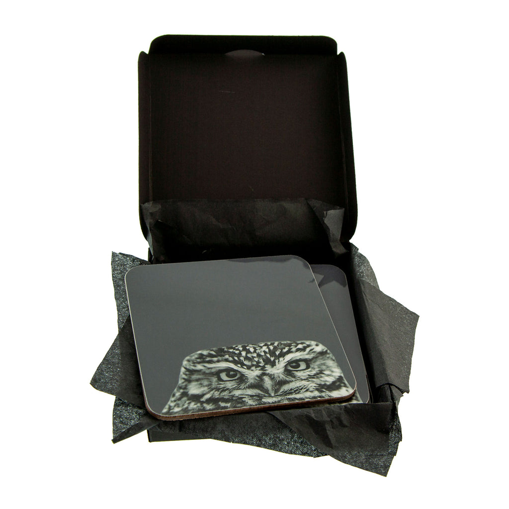 Little Owl Coaster - Charcoal - Gift Box