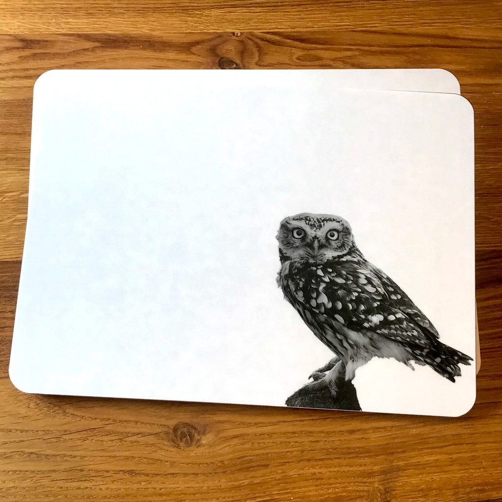 Little Owl Standing Placemat - White
