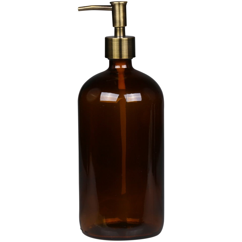 Mocca Glass Bottle and Brass Dispenser - Large
