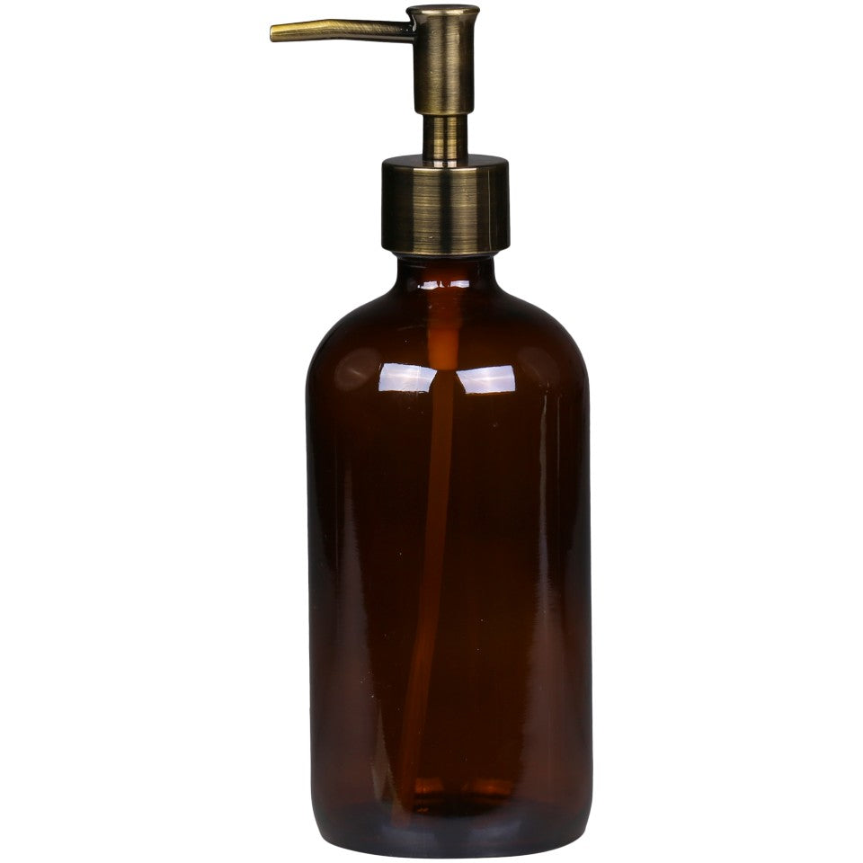 Mocca Glass Bottle with Brass Pump Dispenser - Regular