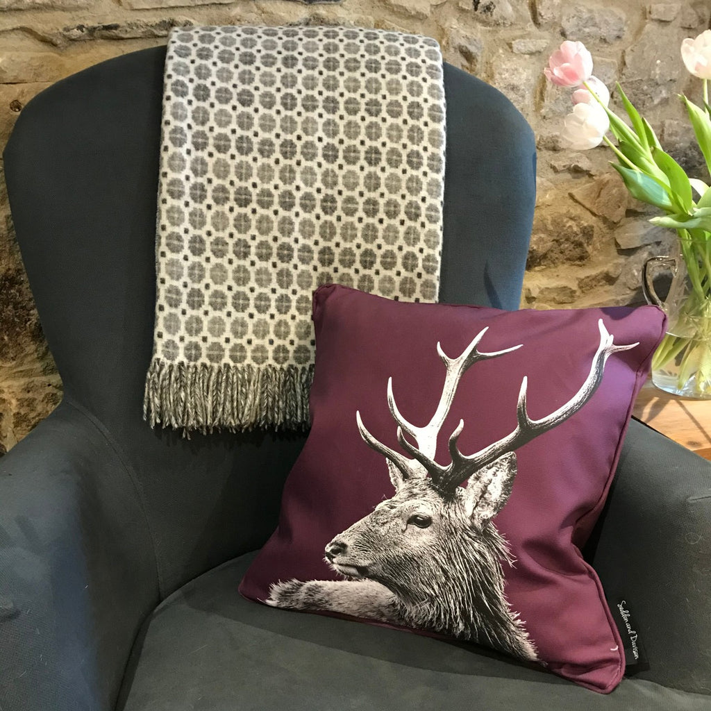 Stag Cushion Mullberry and Grey Milan Throw