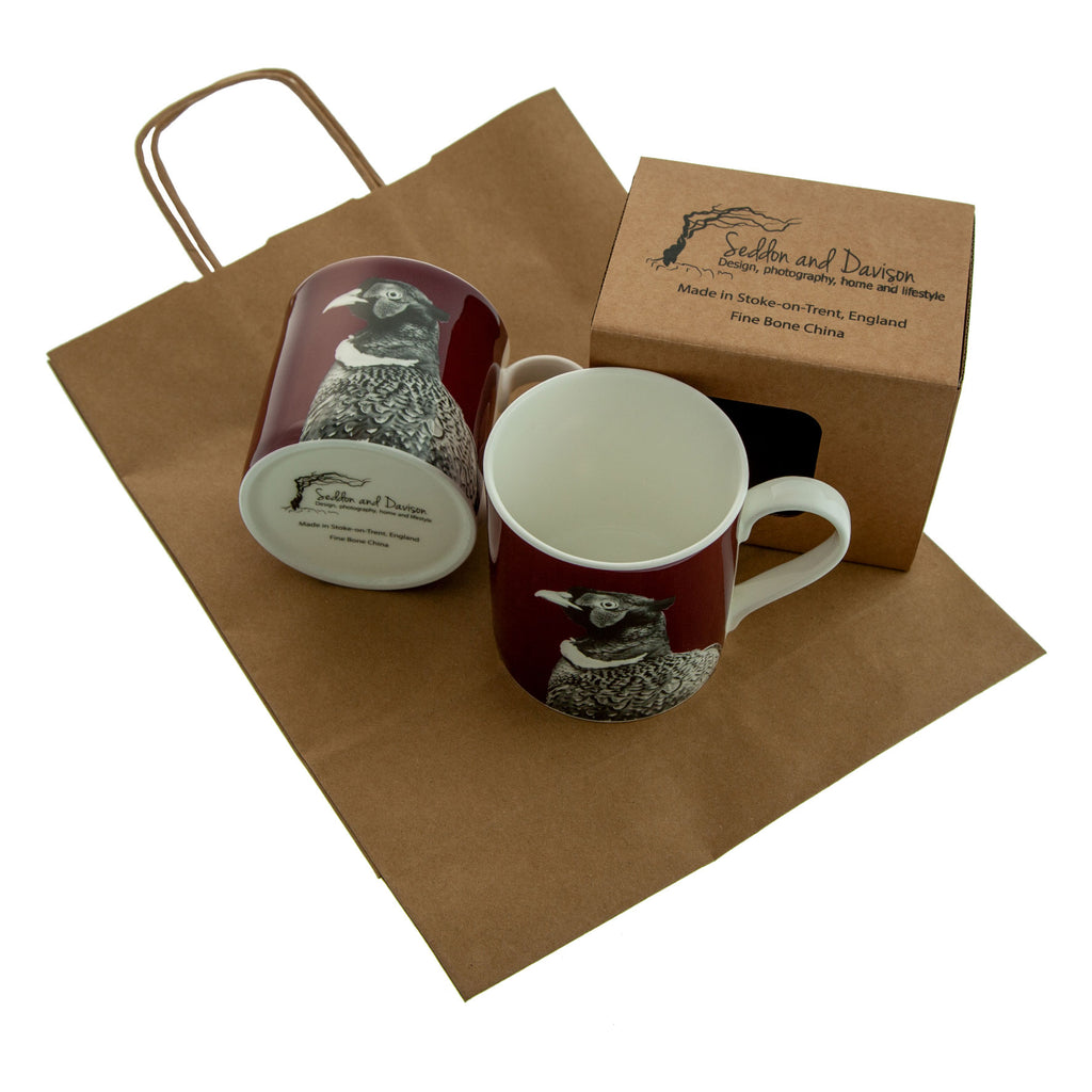 Pheasant Fine Bone China Mug - Claret