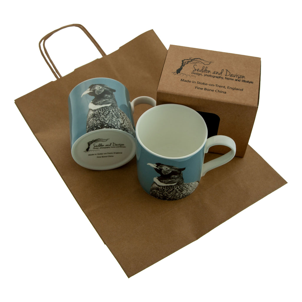 Pheasant Fine Bone China Mug - Pale Blue
