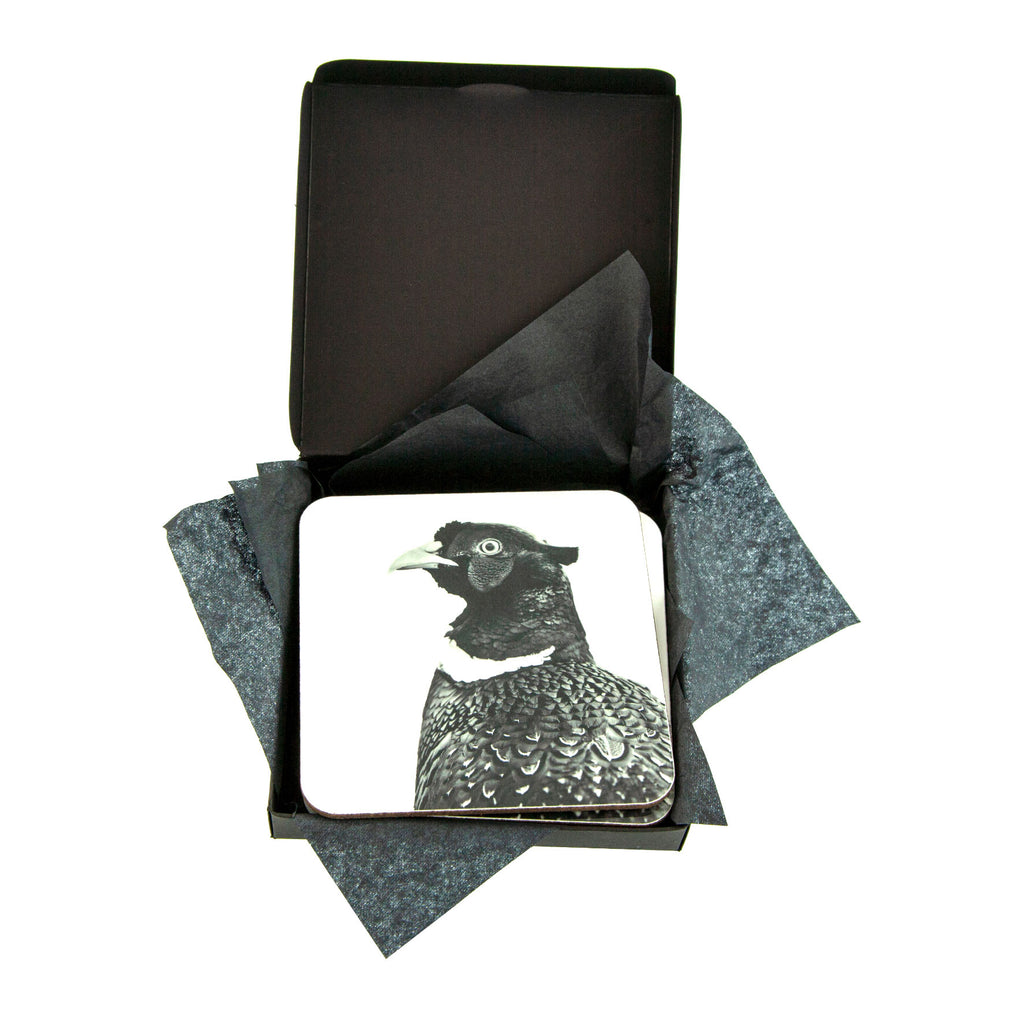 Pheasant Coaster White - Gift Box