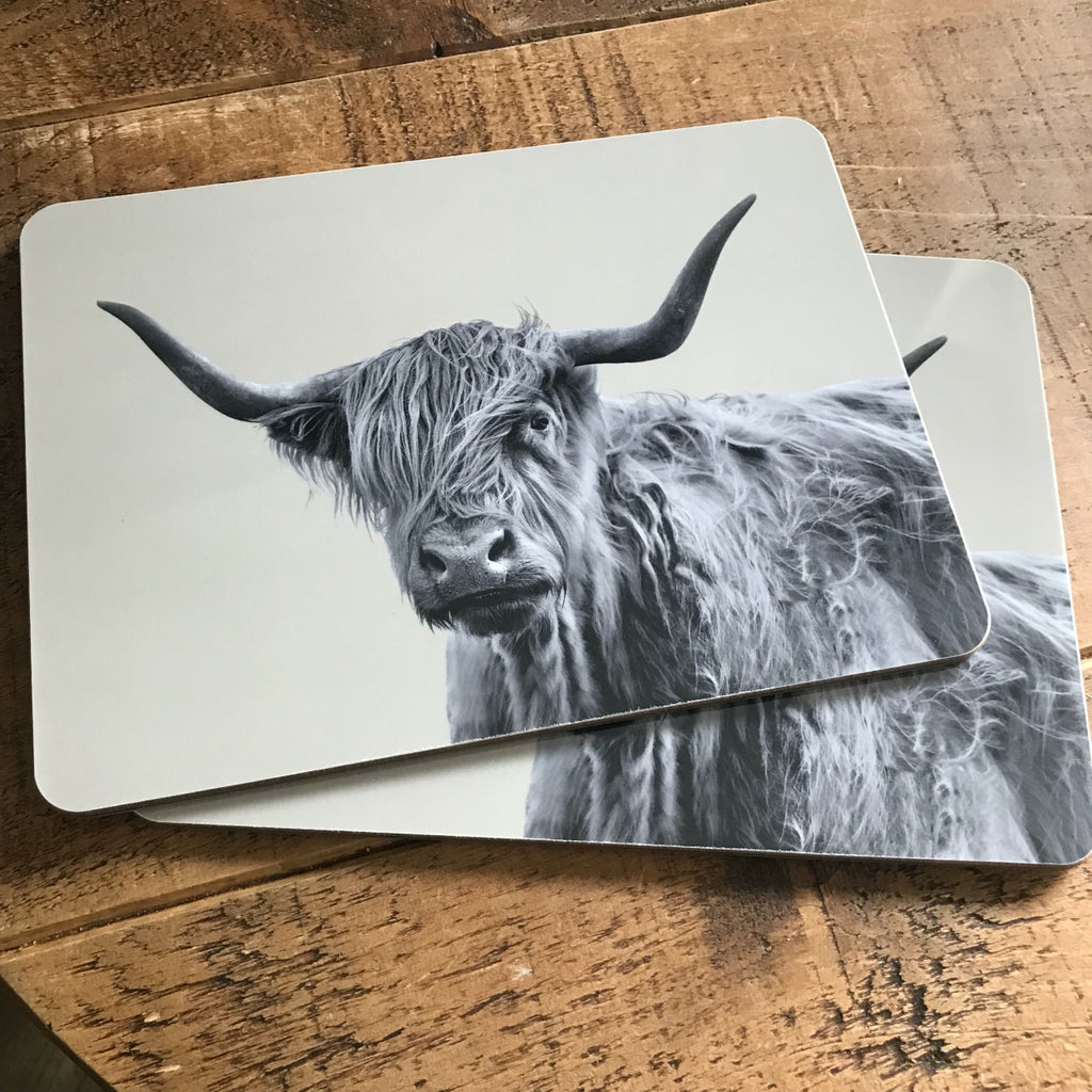 Placemat - Shaggy Highland Cow - Sand Grey