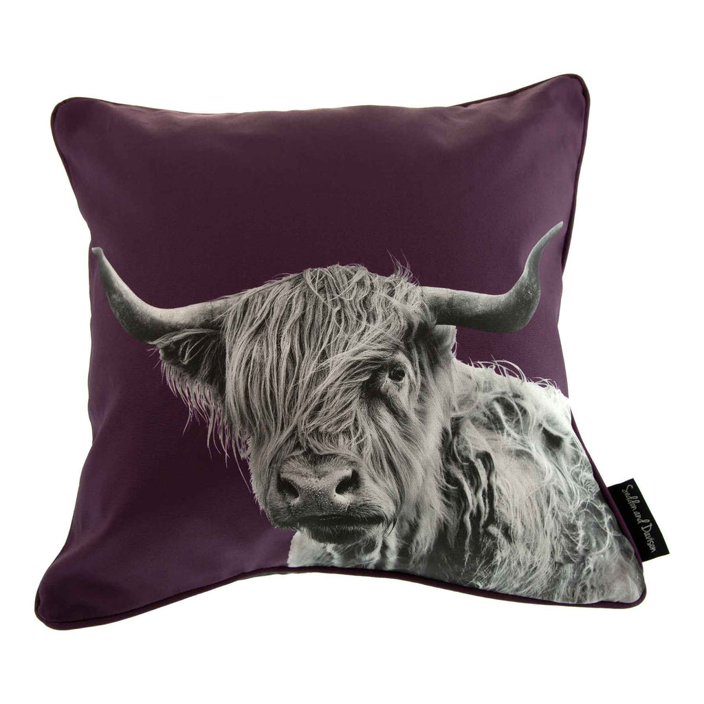 Highland Cow Cushion - Mulberry