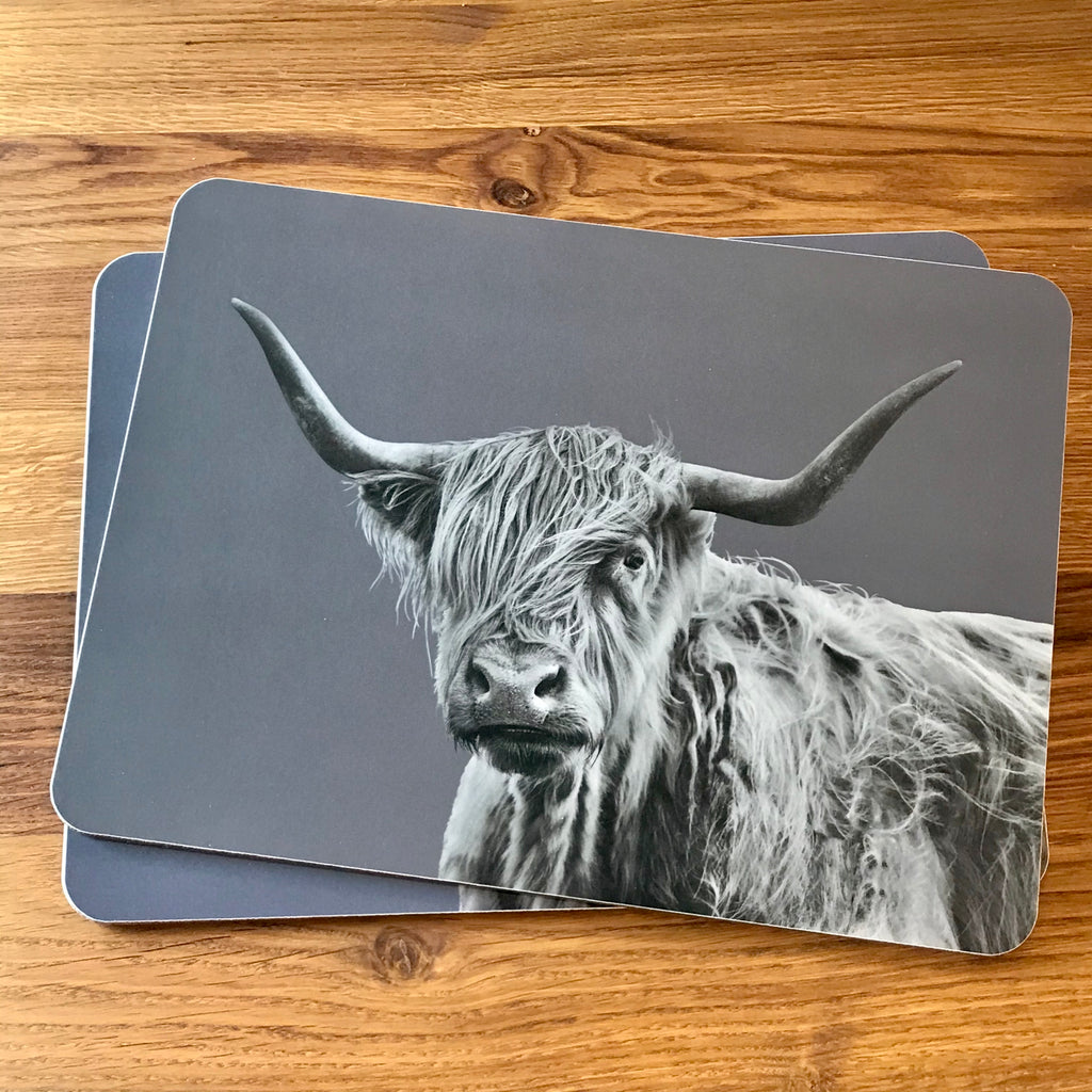 Shaggy Highland Cow Placemat - Charcoal