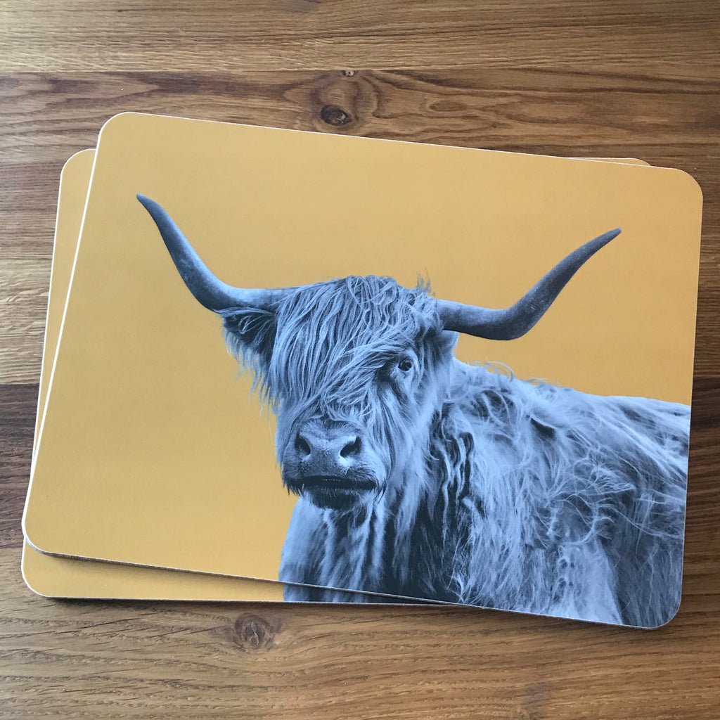 Shaggy Highland Cow Placemat - Mustard