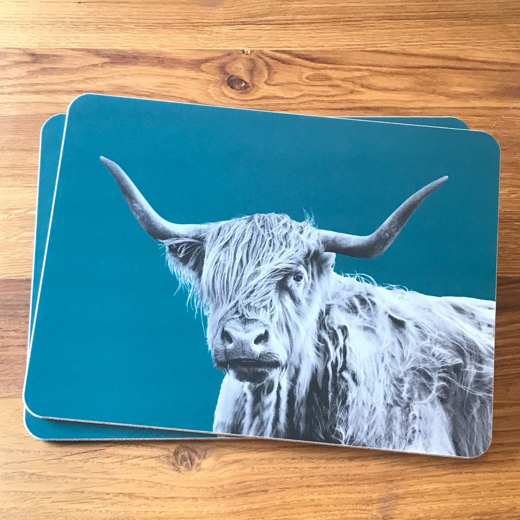 Shaggy Highland Cow Placemat - Teal