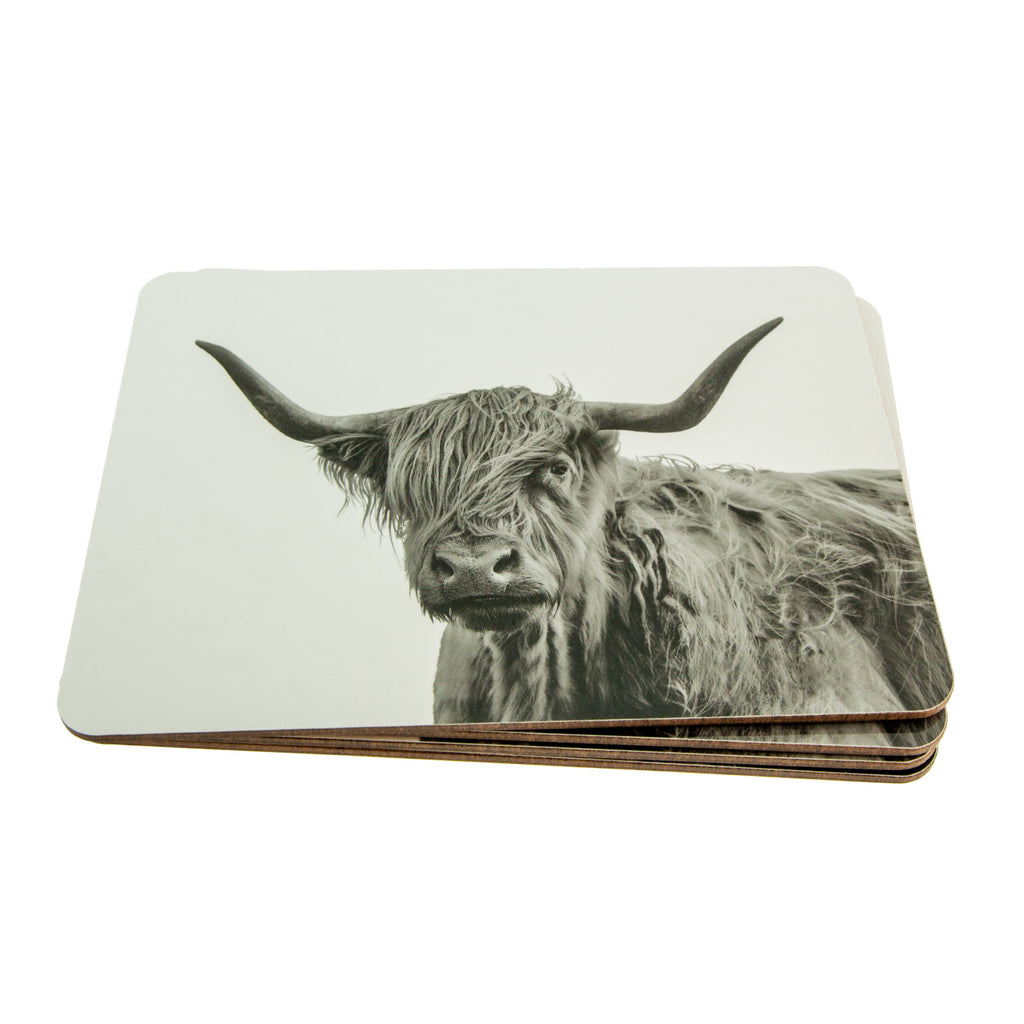 Placemat - Shaggy Highland Cow - White