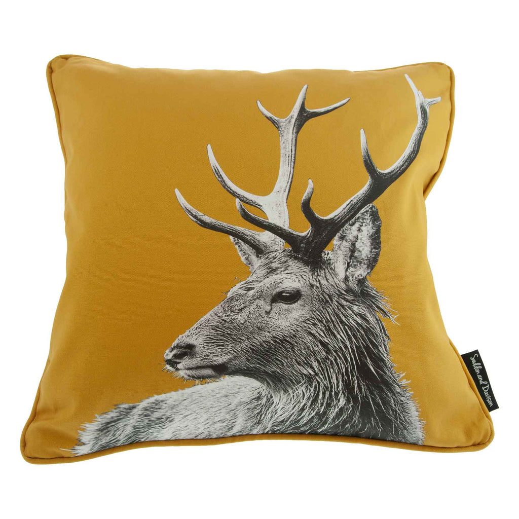 Highland Stag Cushion - Ochre