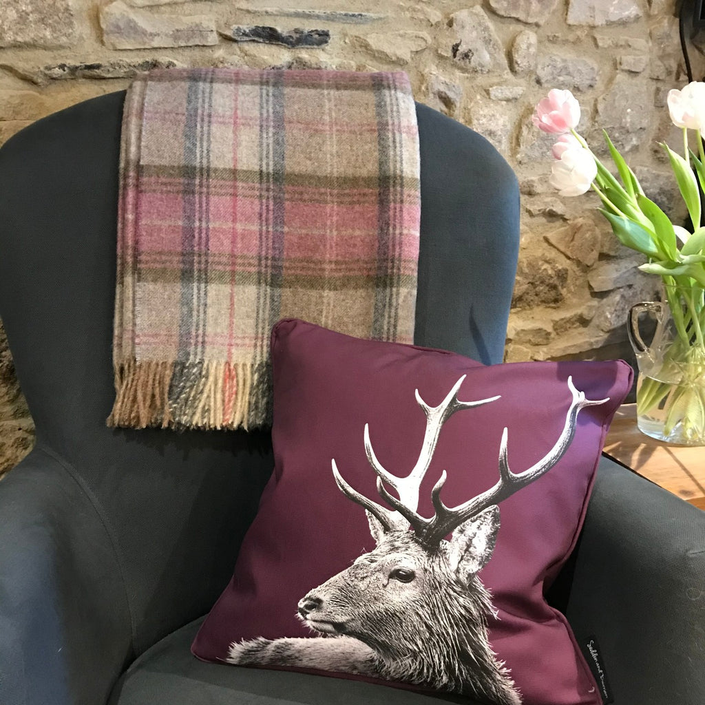 Mulberry Stag Cushion and Stroud Heather Throw
