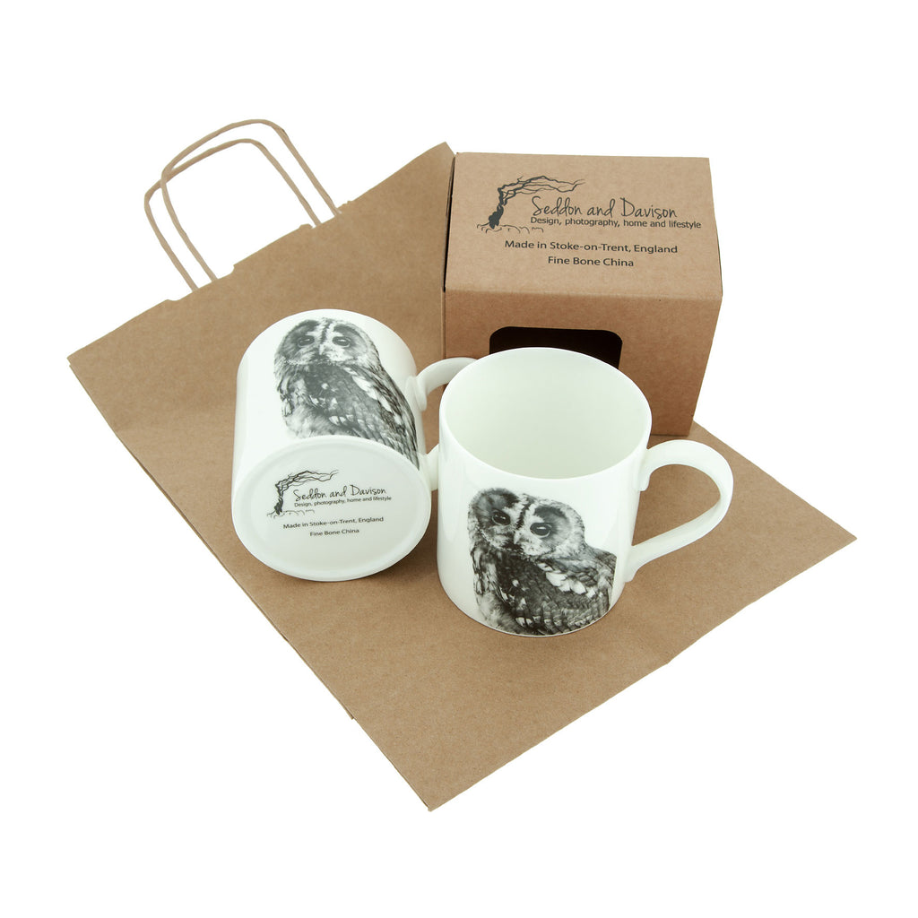 Tawny owl Fine Bone China Mug - White