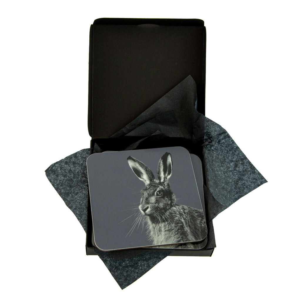 hare coaster charcoal in gift box