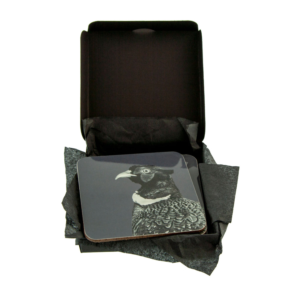 Pheasant Coaster Charcoal  - Gift Box