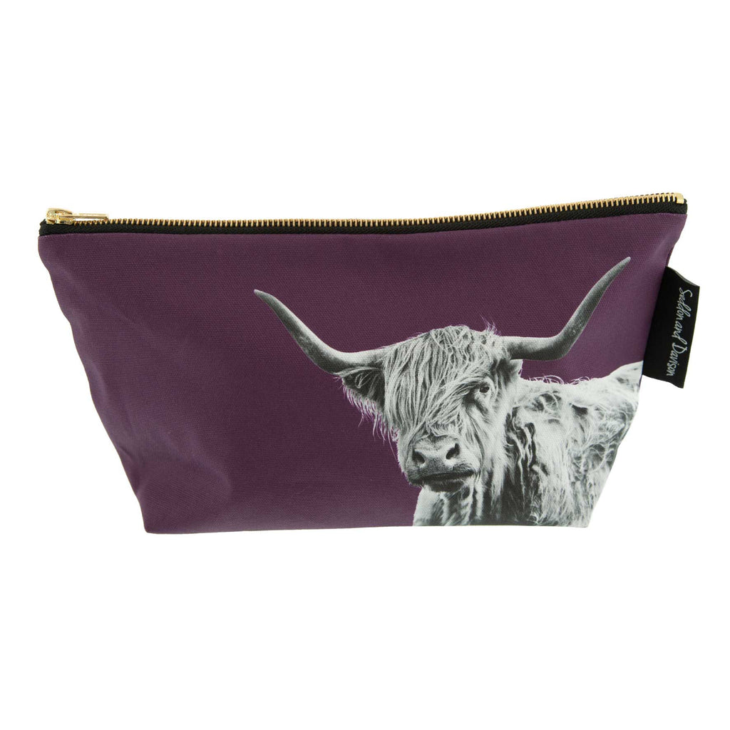 Shaggy Highland Cow Wash Bag - Mulberry