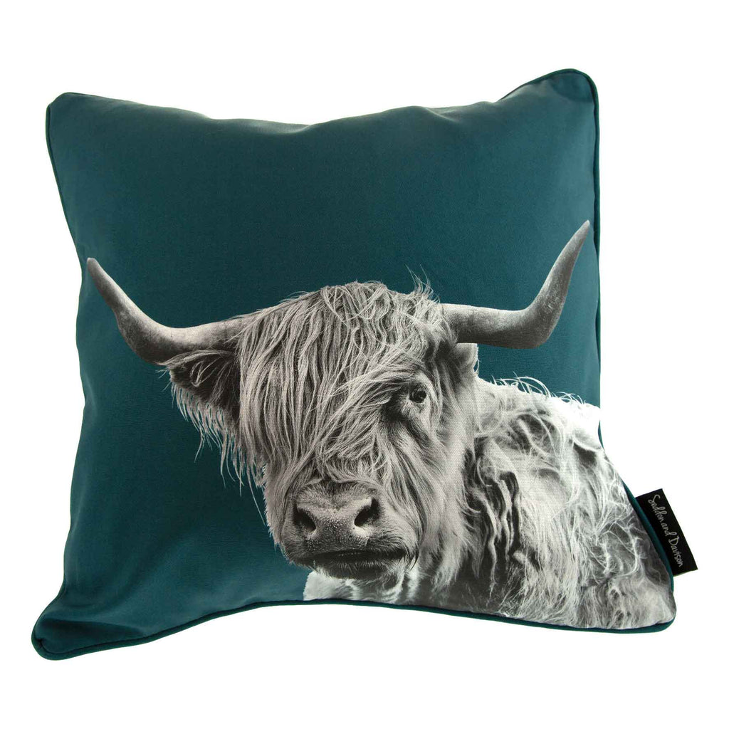 Highland Cow Cushion - Teal Green