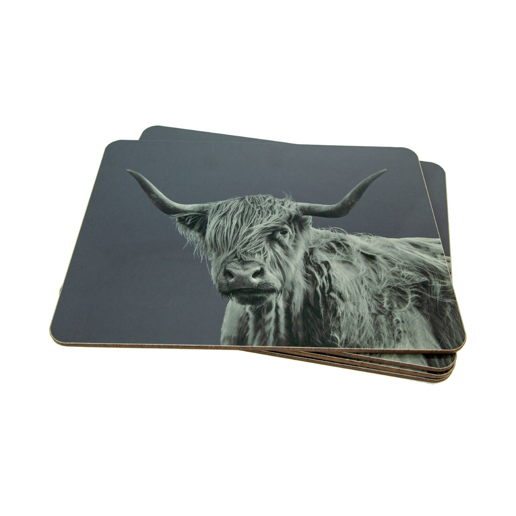 Placemat - Shaggy Highland Cow - Charcoal