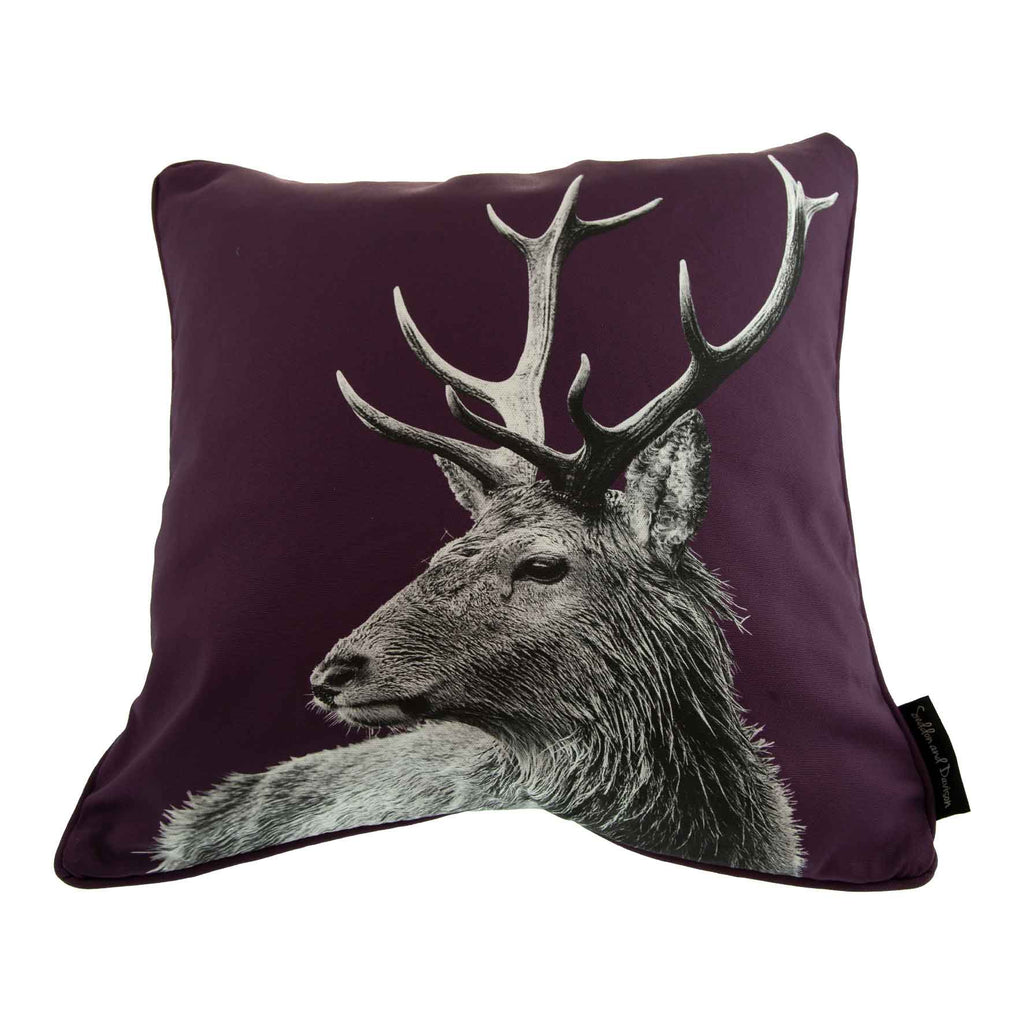 Highland Stag Cushion - Mulberry