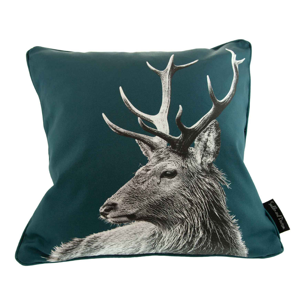 Highland Stag Cushion - Teal Green