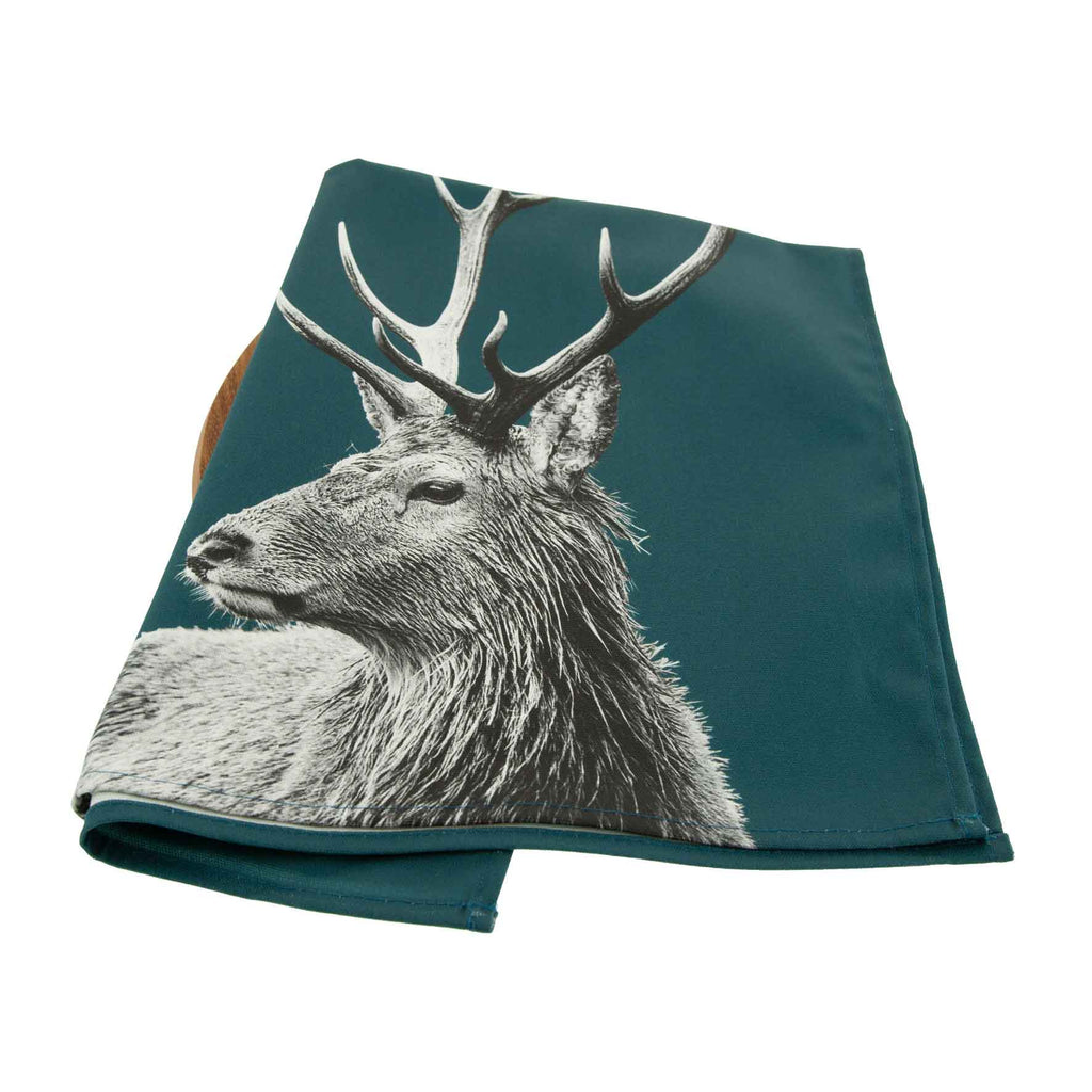 Highland Stag Tea Towel - Teal Green