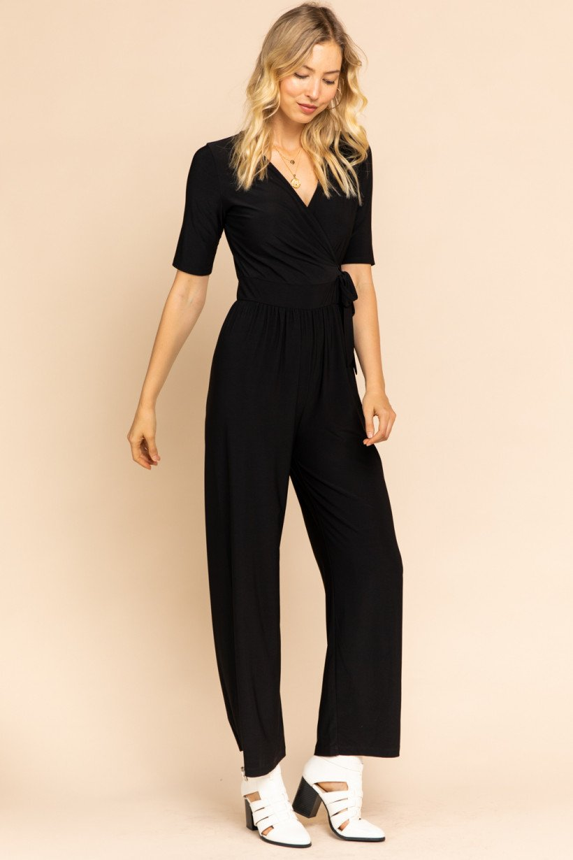 V-Neck Wrap Jumpsuit
