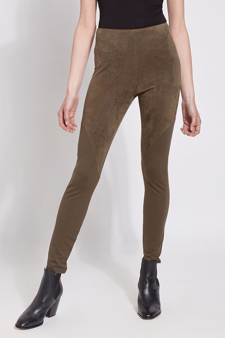 Faux Suede Angle Seam Leggings