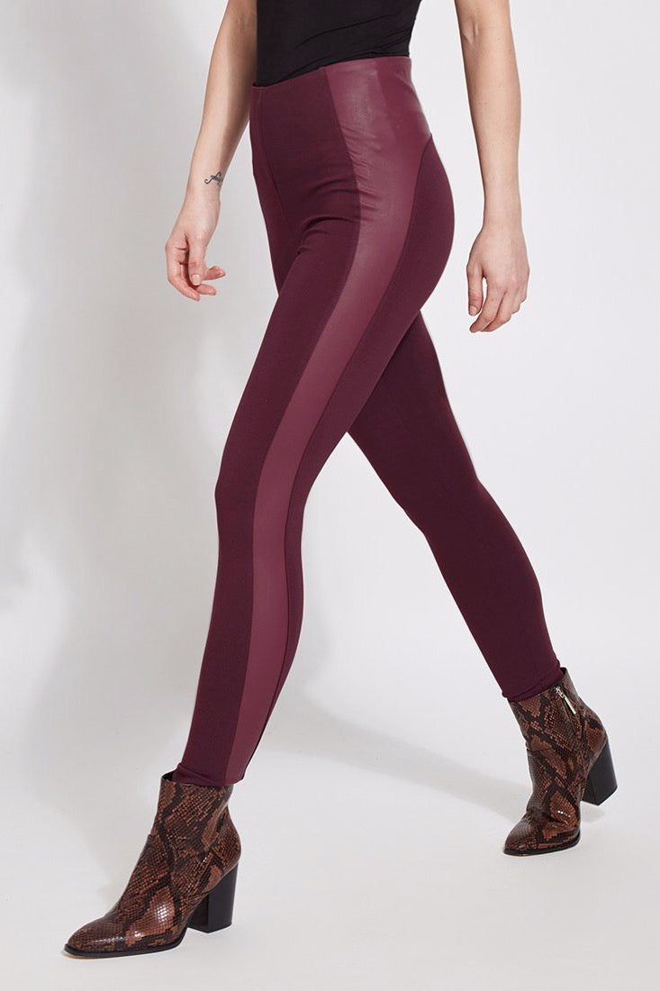 Faux Leather Contrast Legging