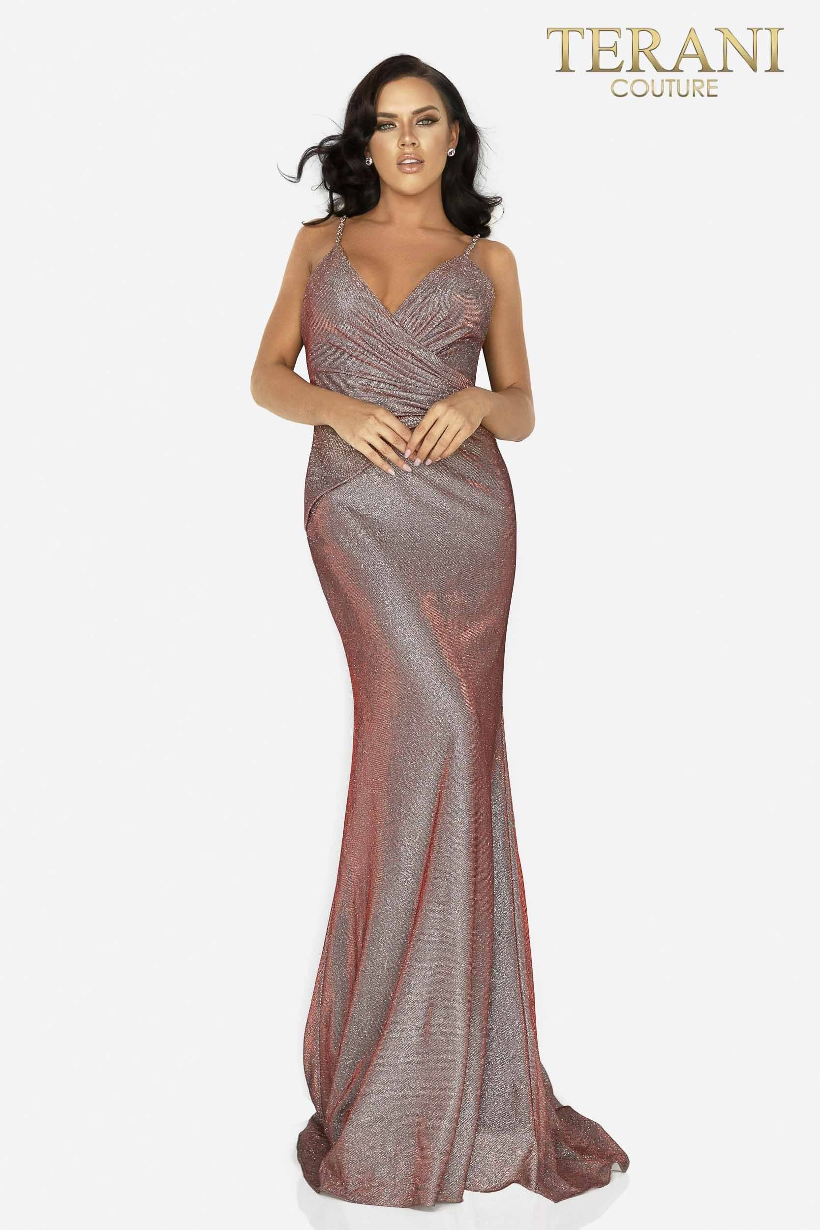 Open Back Glitter Gown