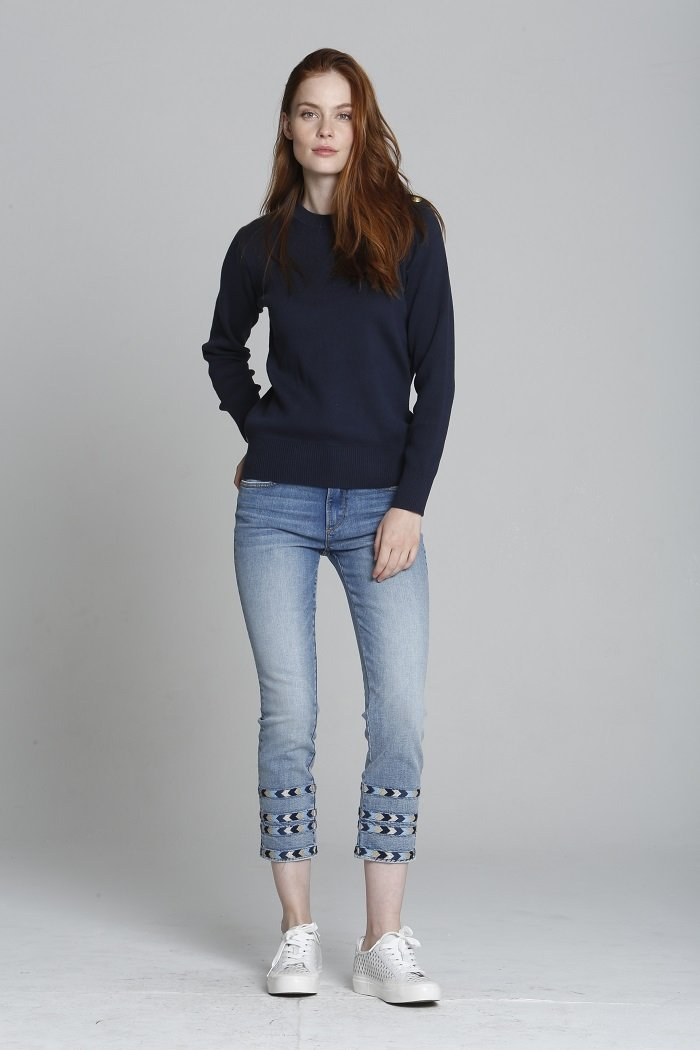Embroidered Cropped Straight Leg Denim