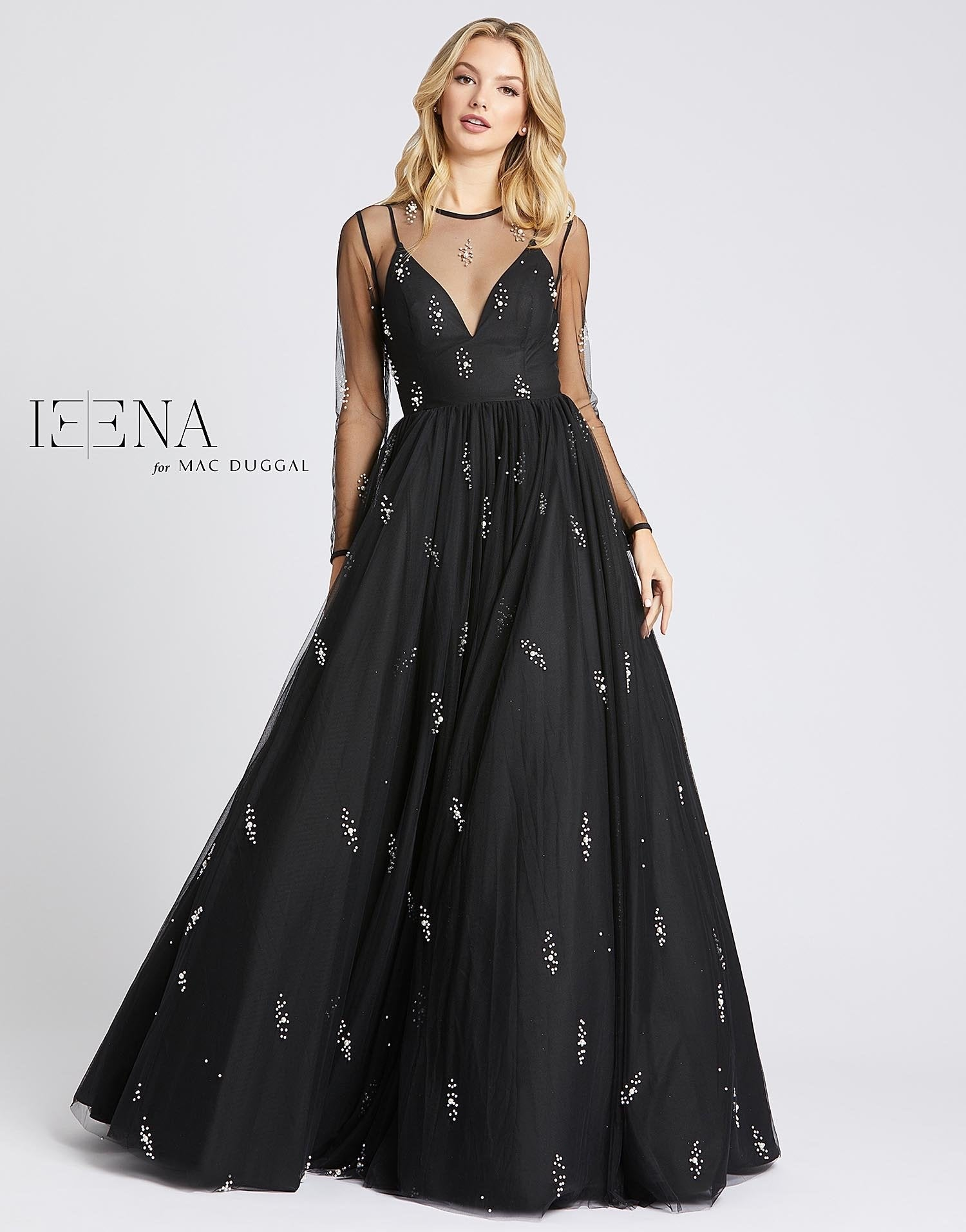 Sheer Sleeve Ball Gown
