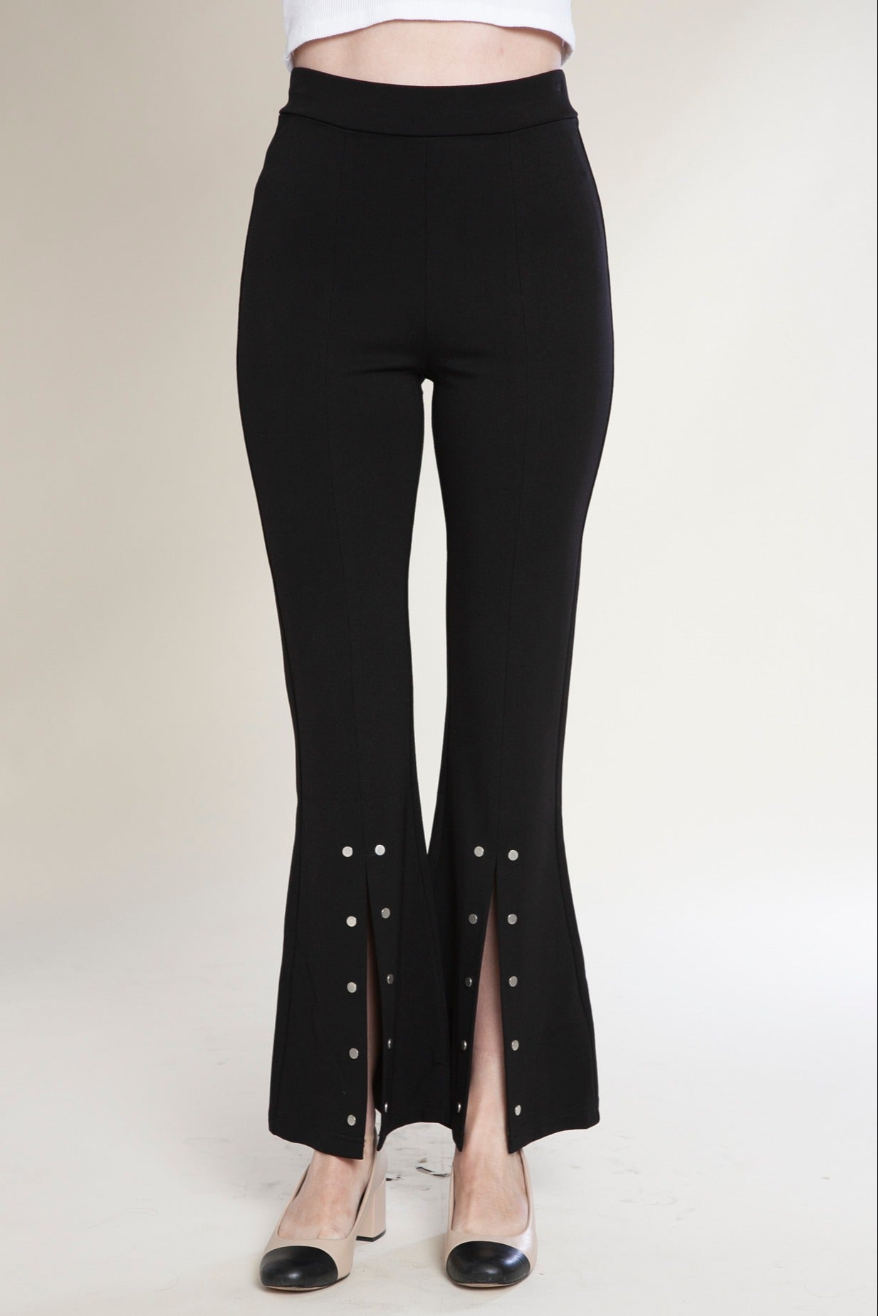 Front Slit Flare Pants with Snaps