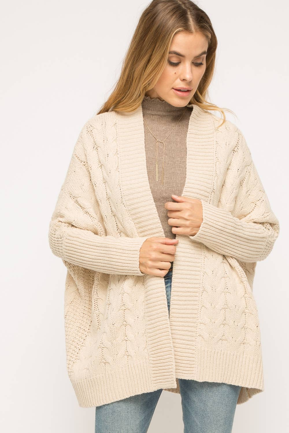 Oversized Cable Knit Cardigan