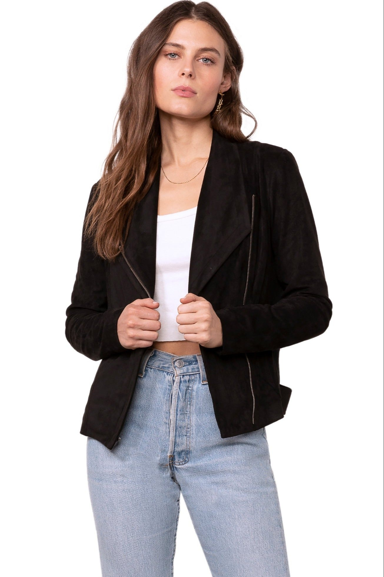 Embossed Faux Suede Jacket