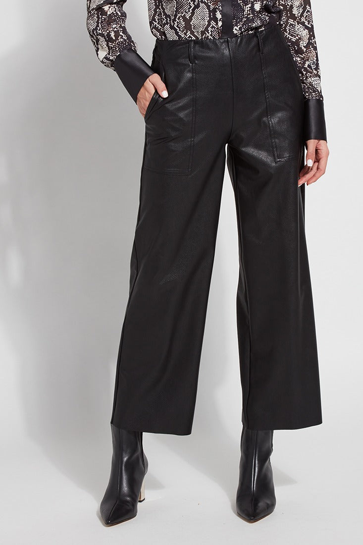 Faux Leather Cropped Wide Leg Trousers