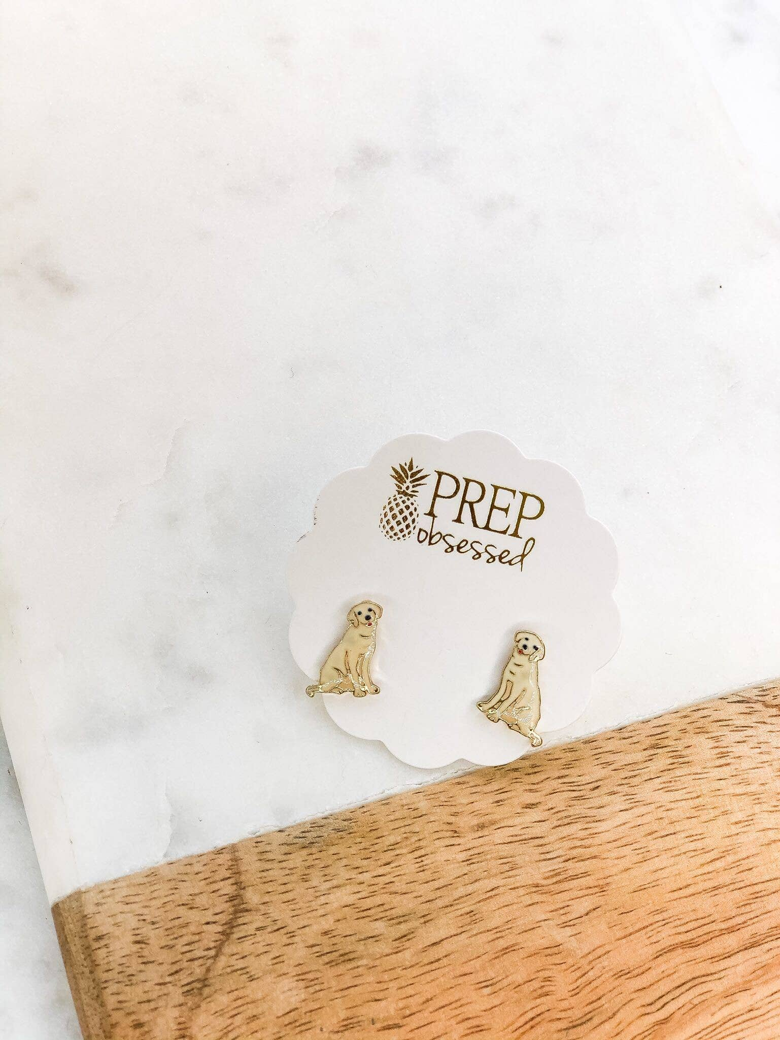 Yellow Lab Enamel Stud Earrings