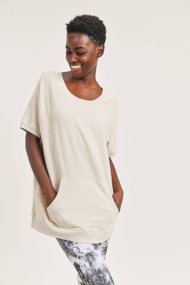 Cotton Terry Mineral-Washed Raglan Top