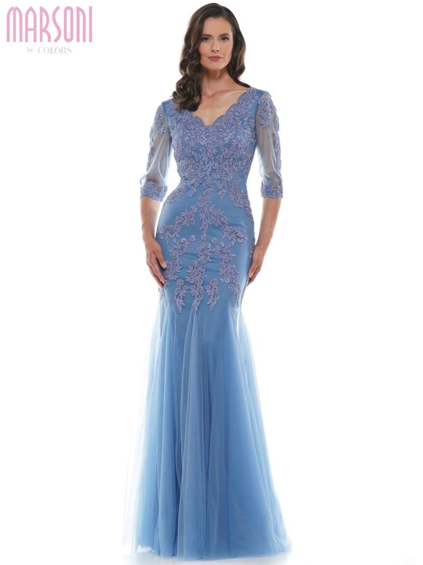 Sheer 3/4 Sleeve Mermaid Gown
