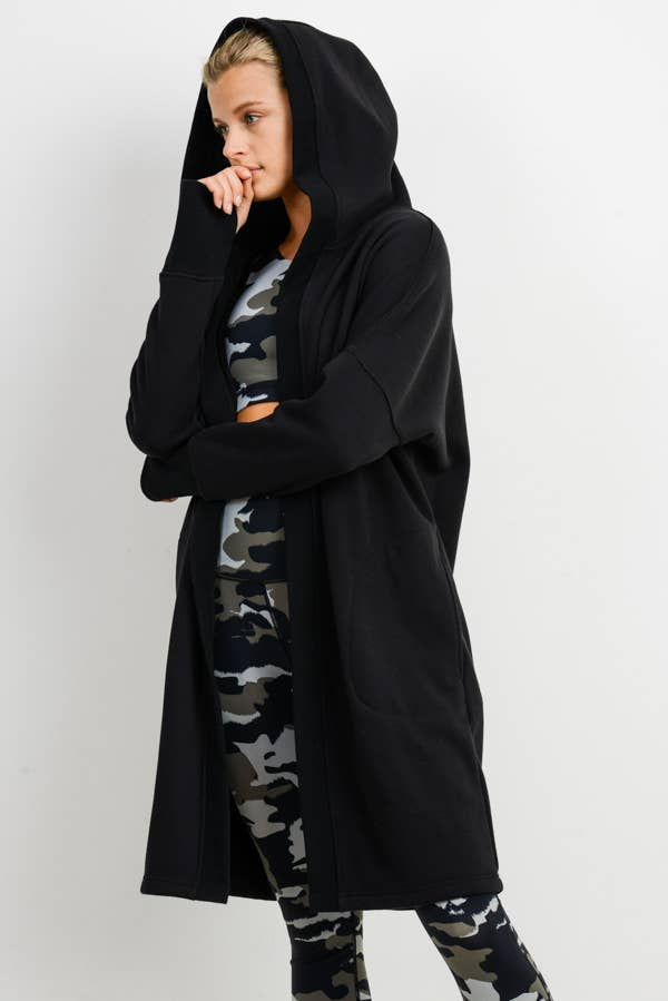 Open Front Longline Hoodie Cardigan with Fleece Lining