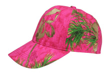 Load image into Gallery viewer, realtree mossy oak hot blaze inferno bright pink orange structured cap hat visor for women ladies