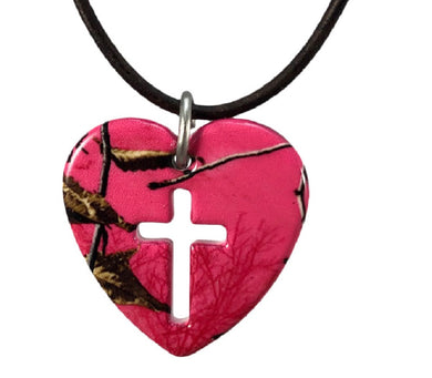 mossy oak muddy girl realtree hot pink camo cross necklace pendant jewelry wedding holiday Christmas birthday mothers day gift for women
