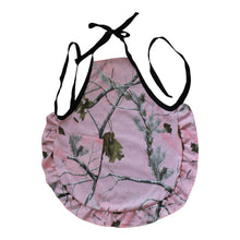 Load image into Gallery viewer, muddy girl mossy oak realtree hot pink blaze orange purple teal blue camo camouflage hostess ruffle womens apron cap hat visor  stahl cross jewelry baby blanket bib infinity scarf throw