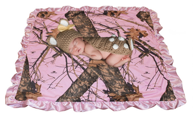 Mossy Oak Realtree Muddy Girl Pink Camo Baby Receiving Swaddling Crib Stroller Wrap Blanket Throw  Satin Carstens