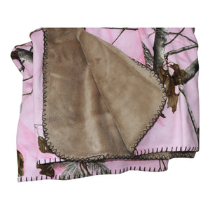 Carstens Realtree Pink Camo Throw Blanket 50x60 Faux Suede Camo Super Soft Backing