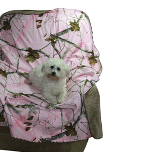 Carstens RT801 Realtree Pink Camo Throw Blanket 54x68 Faux Suede Camo Soft & Snuggly